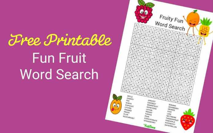 Download Your Free Fruit Word Search - Mykidstime