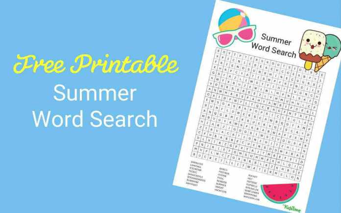 Download Your Free Summer Word Search - Mykidstime