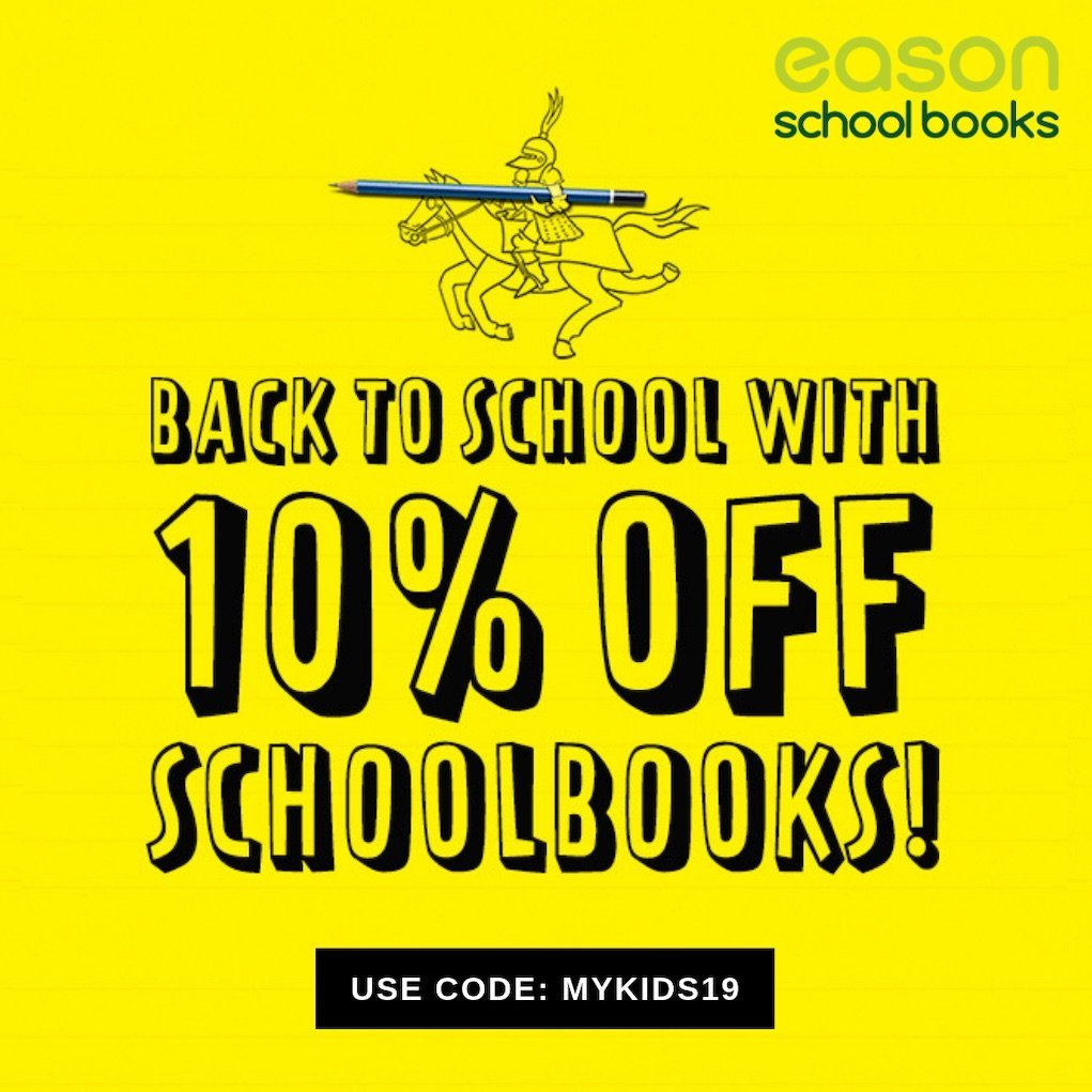 Mykidstime 19 offer code to save money on school books with eason school books