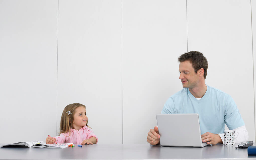 Dad and daughter on laptop for grow your business