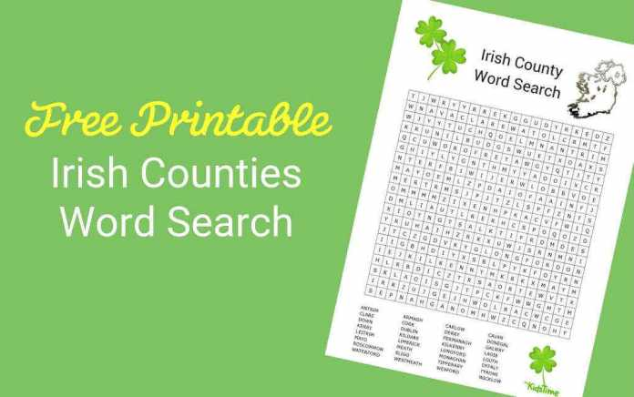 Download Your Free Irish Counties Word Search - Mykidstime
