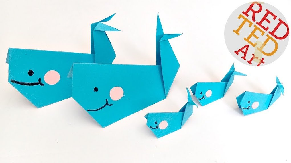 Paper whale Red Ted Art