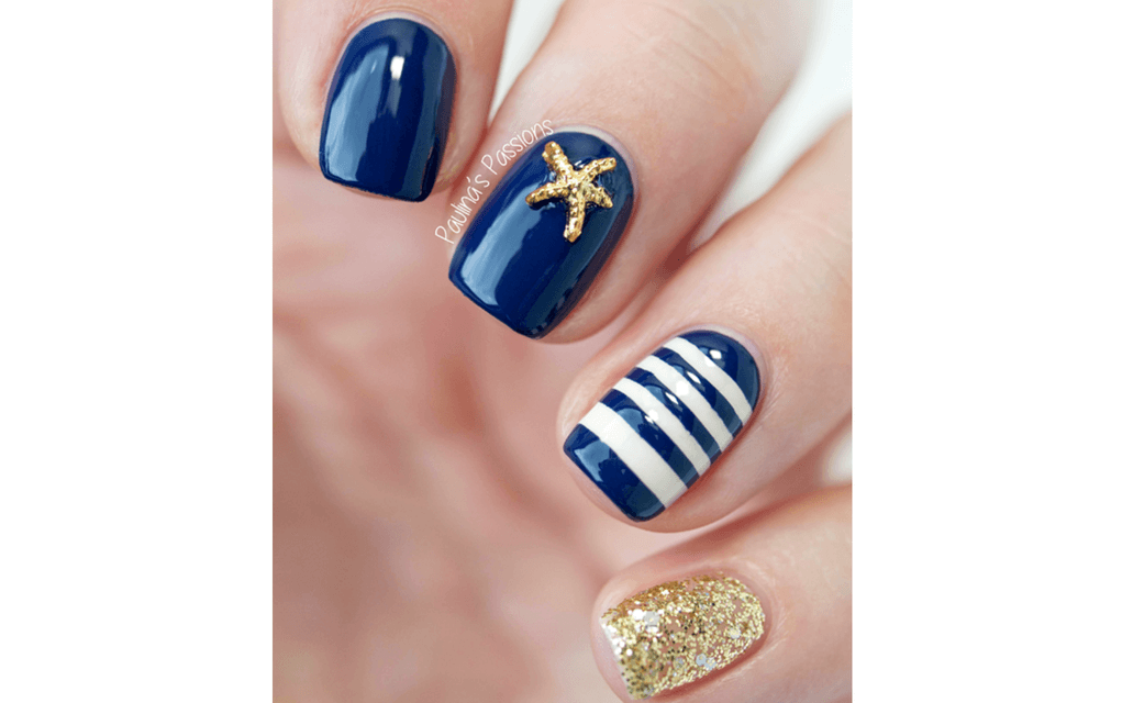 Navy, white and gold nautical nails