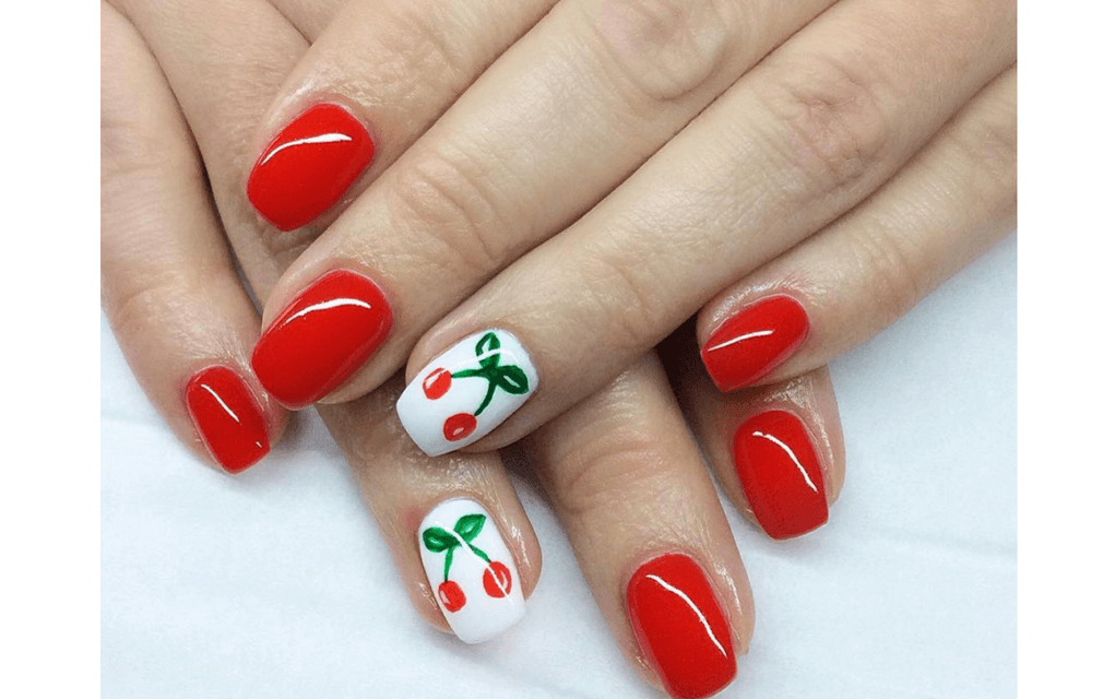 Red and white cherry nails