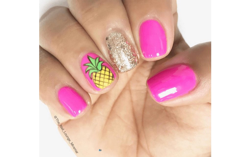 Hot pink pineapple nails