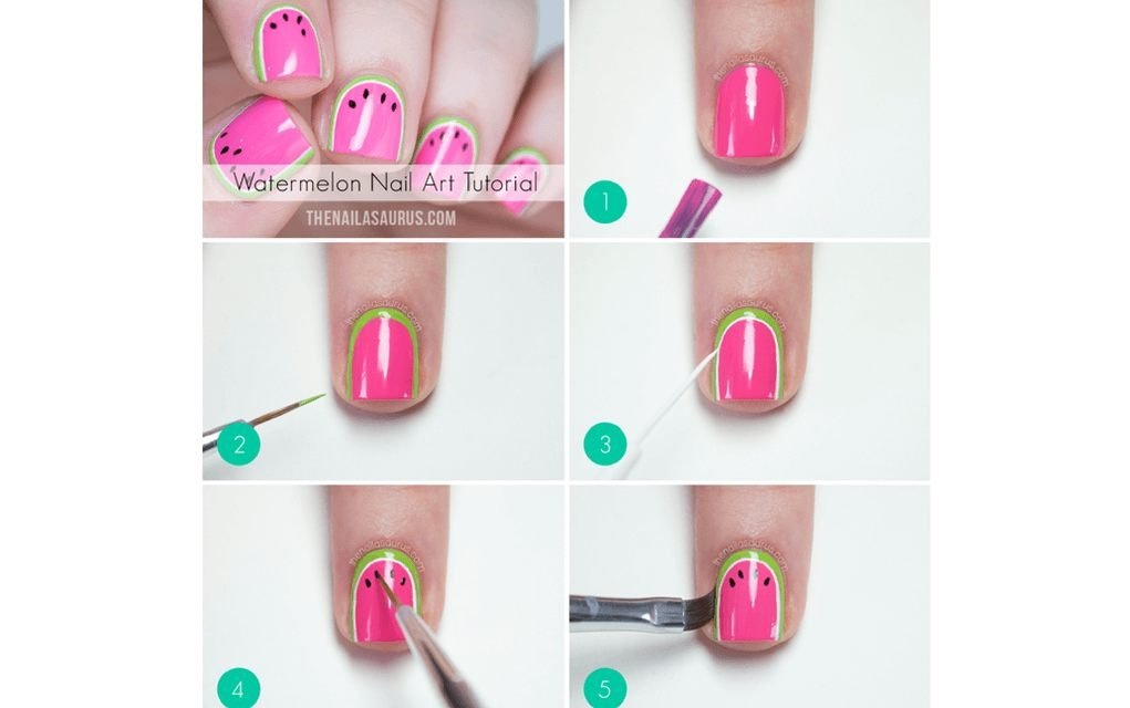 Summer nails a slice of watermelon