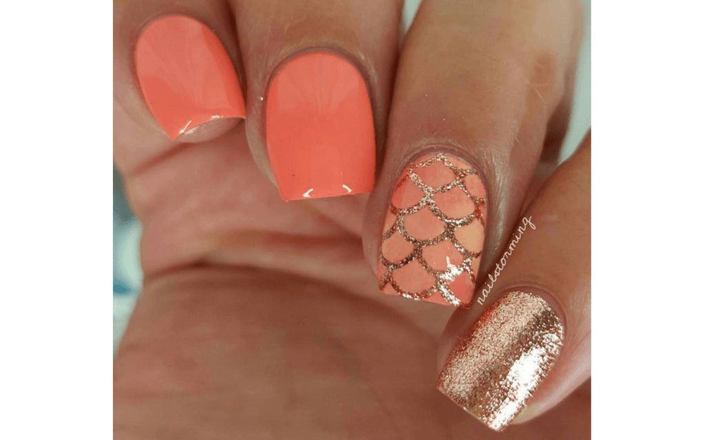 summer nails coral shades