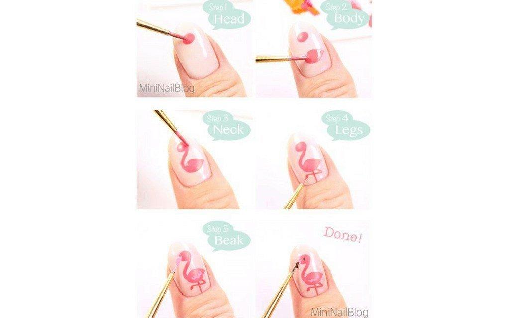 Summer nails flamingo tutorial