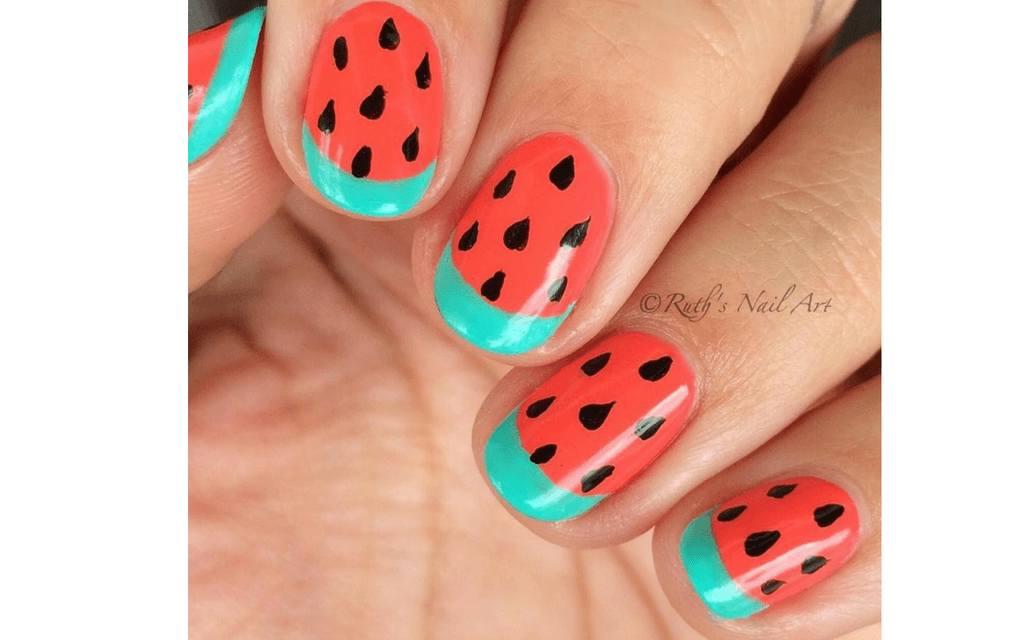 Summer nails watermelon bliss