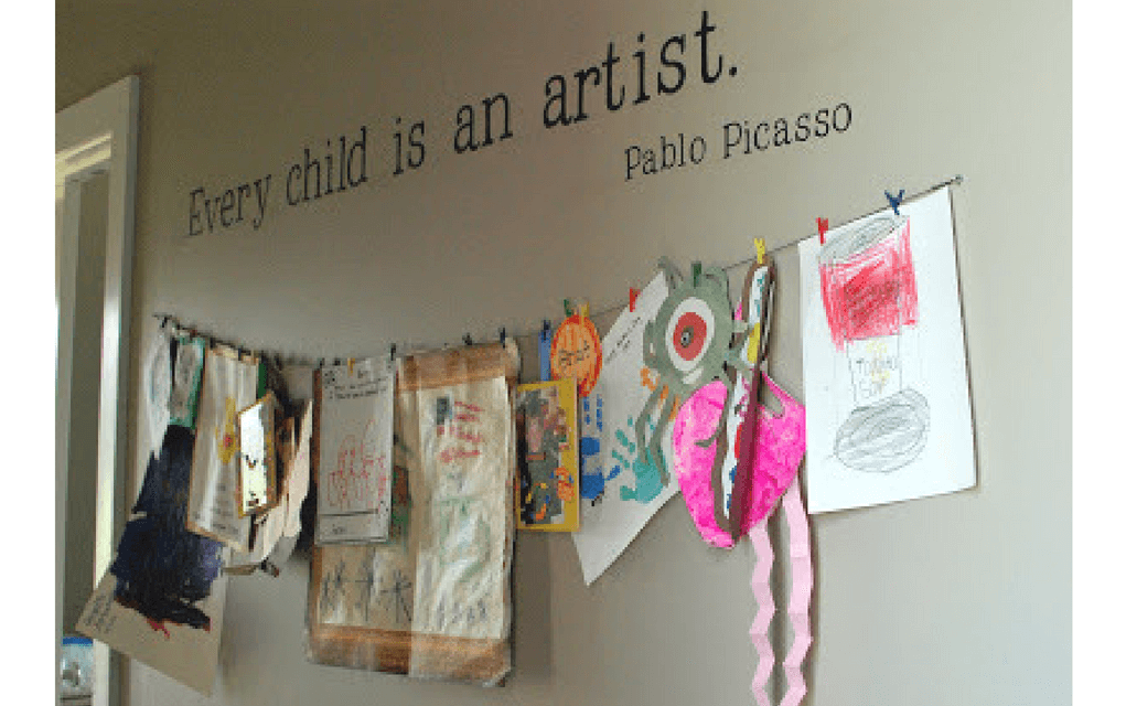Art on string from Random Supermom for Display your child's artwork