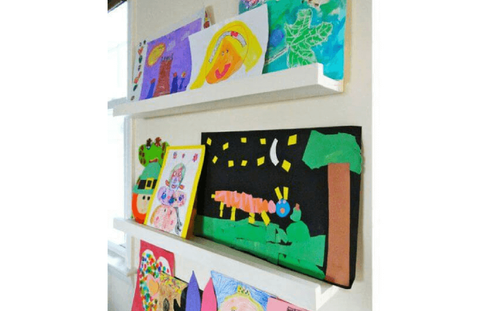 Art on shelves from ana white for Display your child's artwork