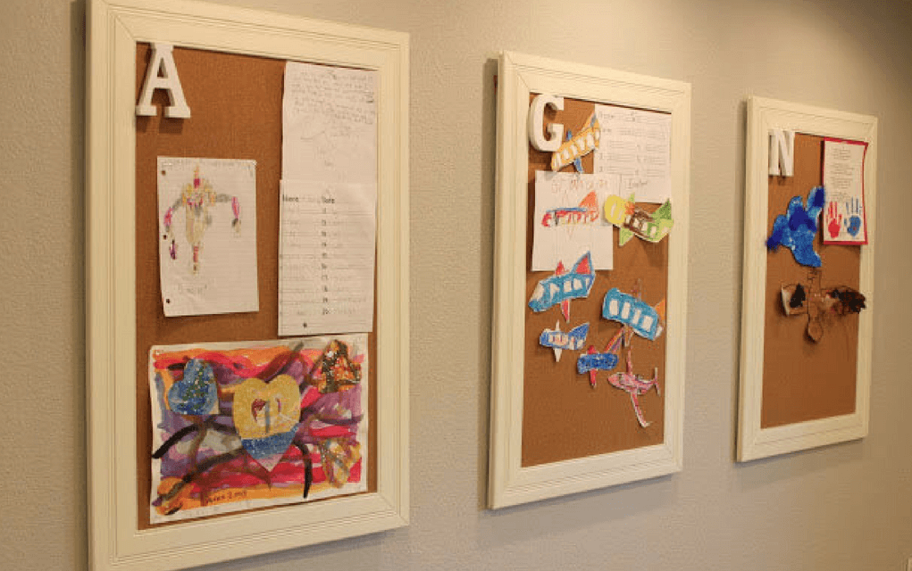 Pinboard frames from for Display your child's artwork