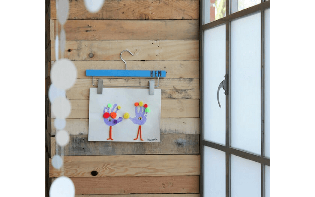 Art on a hanger from for Display your child's artwork
