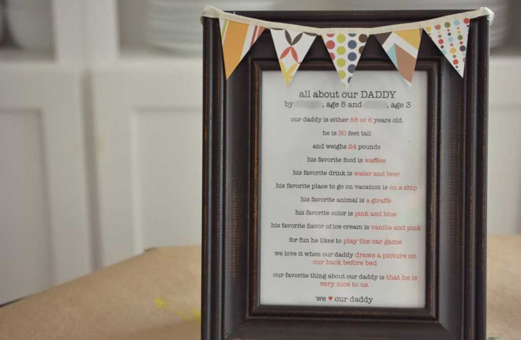 framed daddy print for homemade father's day gifts