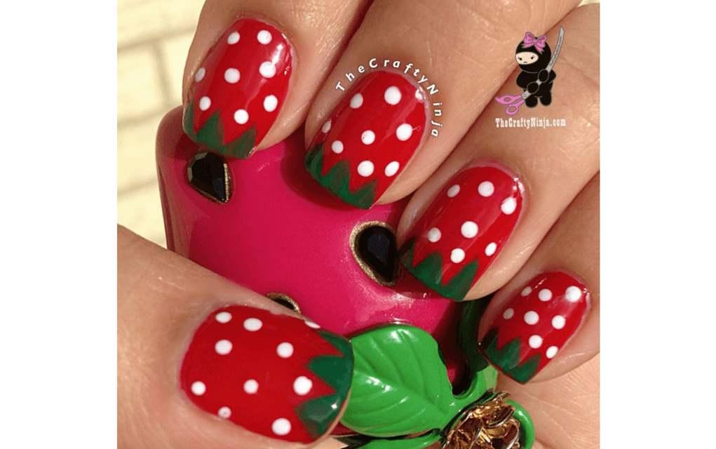 summer nails strawberry design