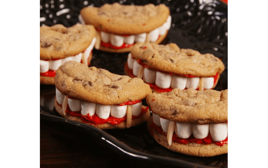 Vampire teeth cookies for Halloween party food ideas