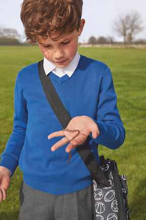M&S School Uniforms 2018 Boy with worm in his hand