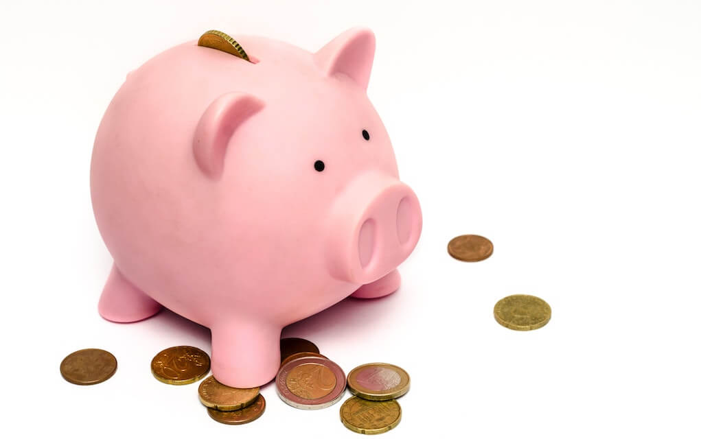 Piggy bank and coins for pocket money