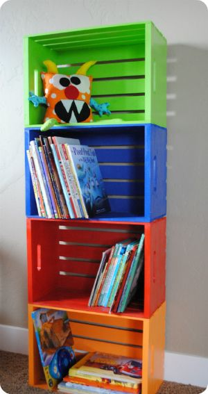 colourful book crates