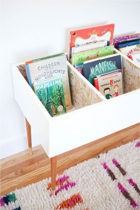 diy book storage bin