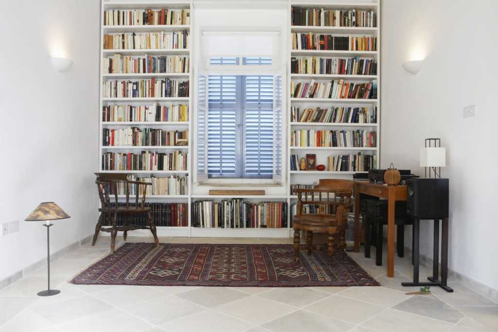 bookcases by windows