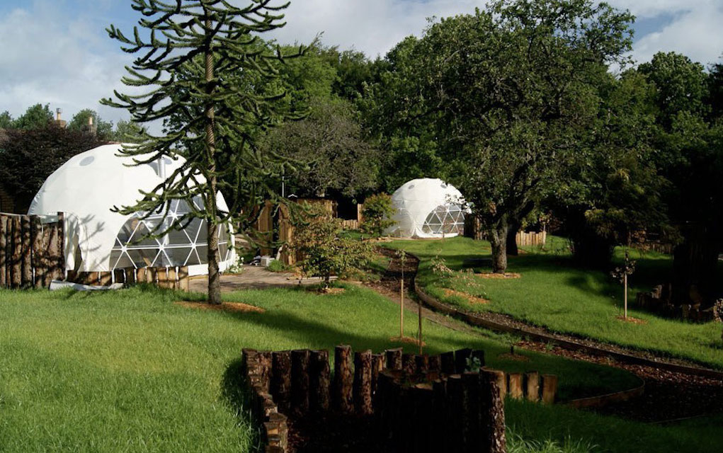 Dome Garden for family glamping in the UK
