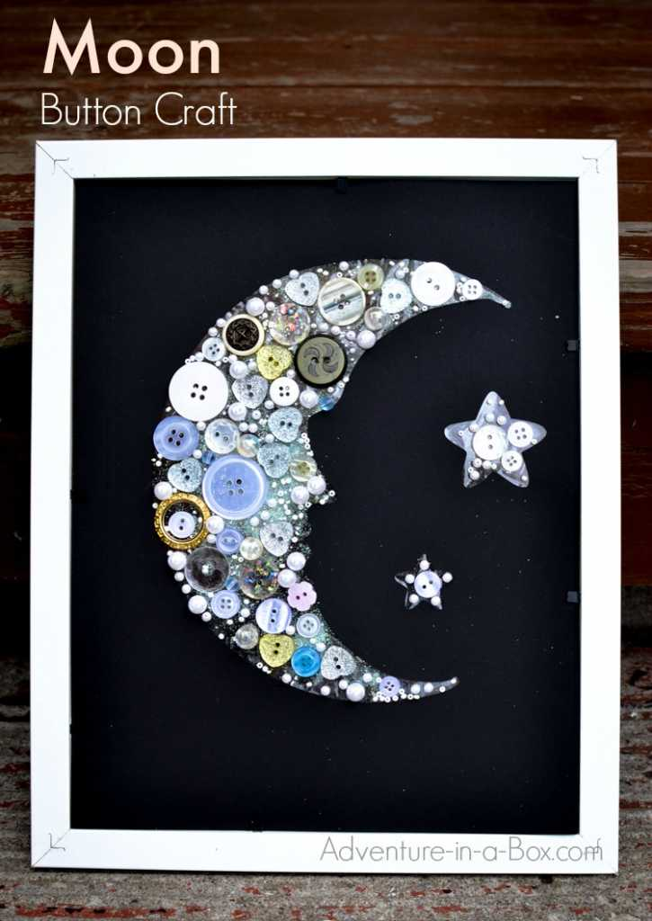moon button collage craft