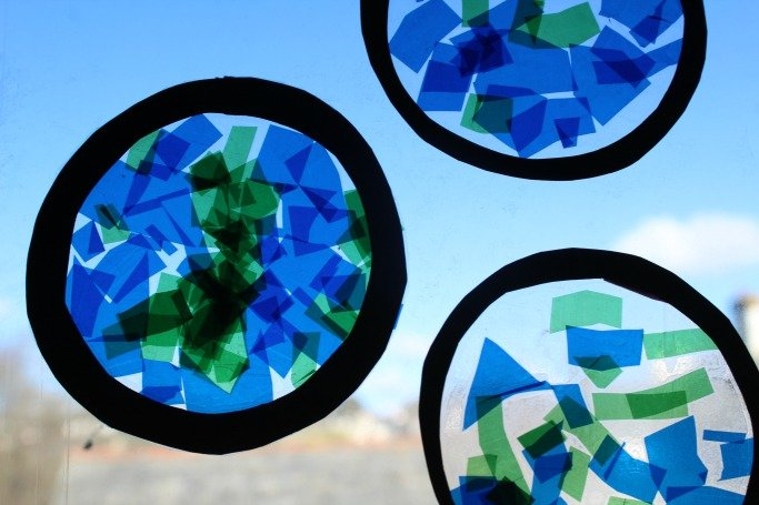 stained glass earth suncatchers