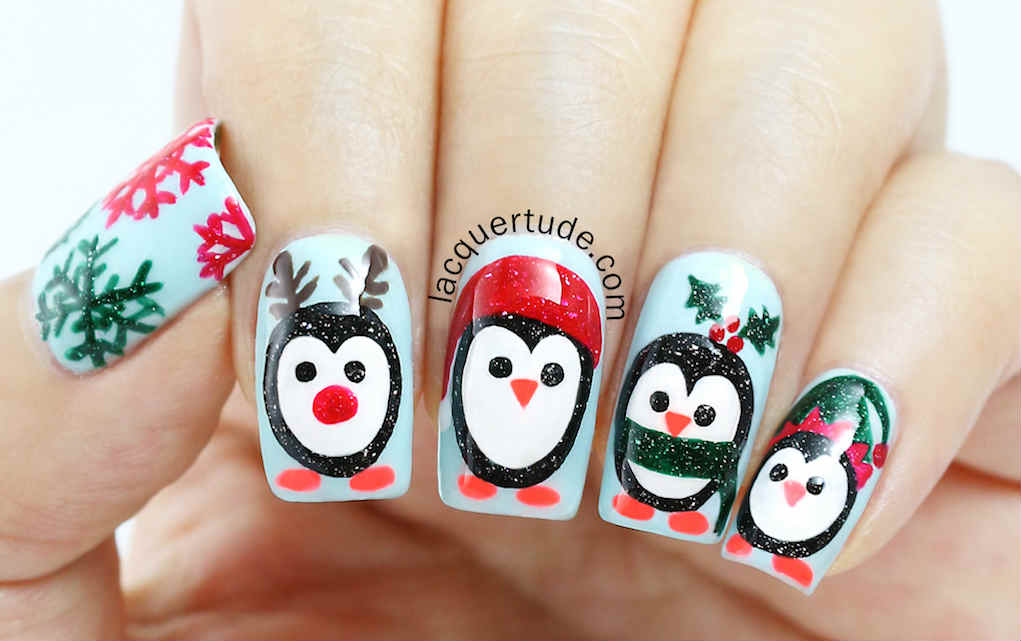 christmas nails - Lacquertude-Holiday-Penguins-Nail-Art