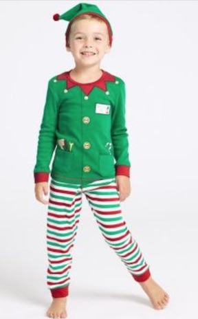 Kids sleepwear for Christmas M&S elf pjs elf events in Ireland