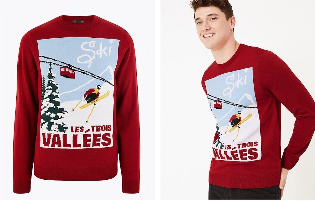 M&S Christmas Ski Poster Design jumper mad about Christmas