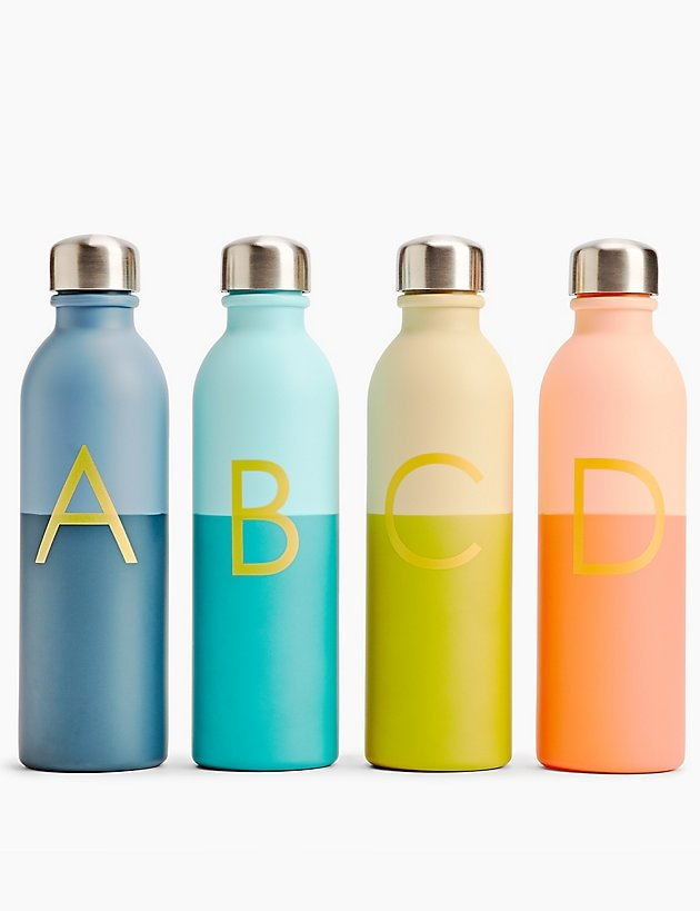 Water bottles from the alphabet collection at M&S festive gifts for under €20