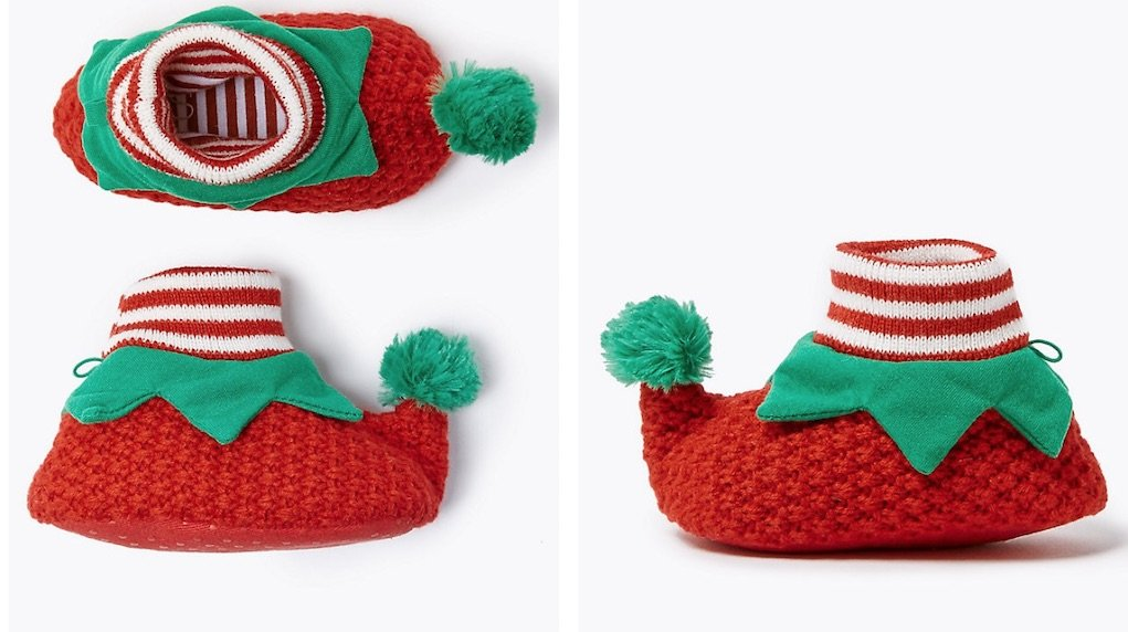 baby elf shoes from M&S mad about Christmas