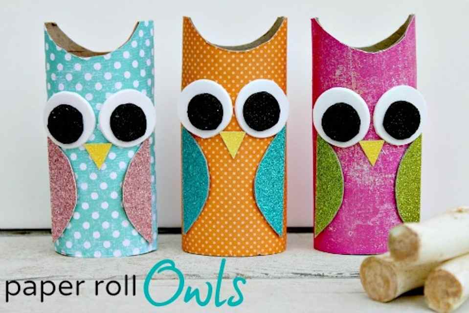Paper roll owls