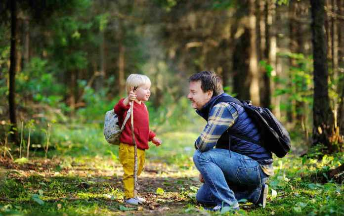 Boy and father on a walk for fun family walks in the UK - Mykidstime