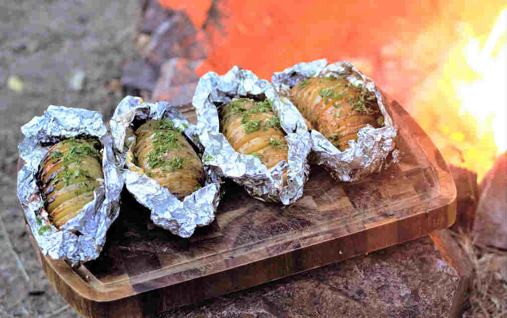 Campfire-Cheesy-Garlic-Potatoes for easy camping meals - Mykidstime