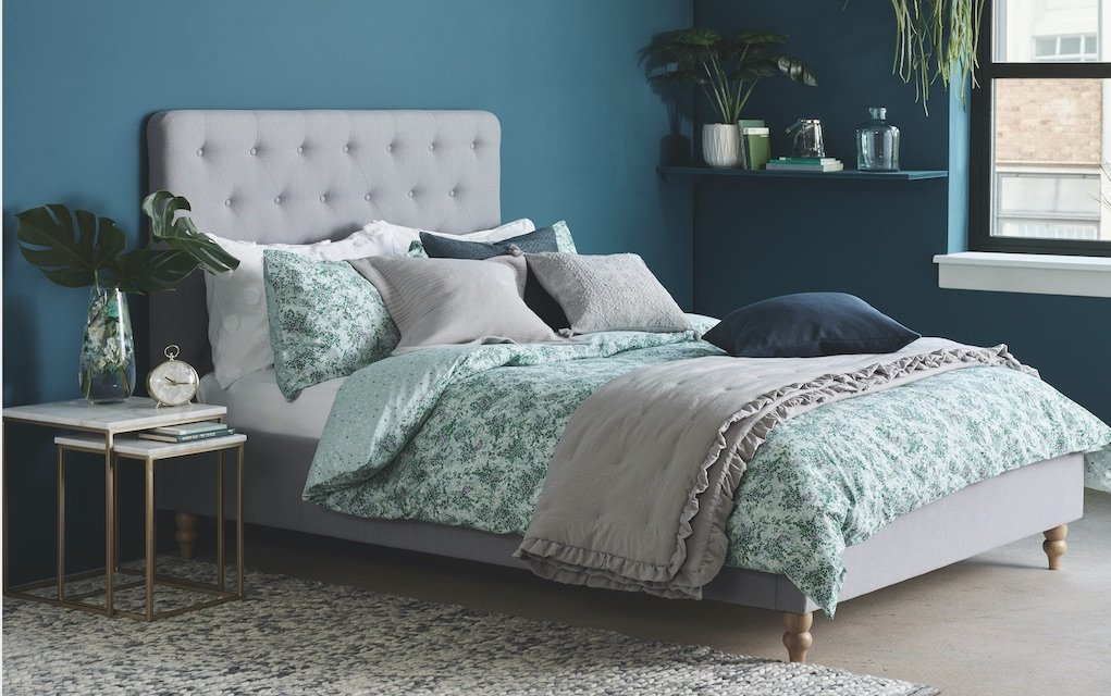 M&S bedroom with bed and rug tips to give your home a new look for less