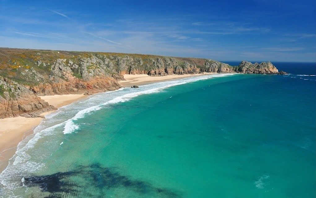 Porthcurno Cornwall for best beaches in UK - Mykidstime