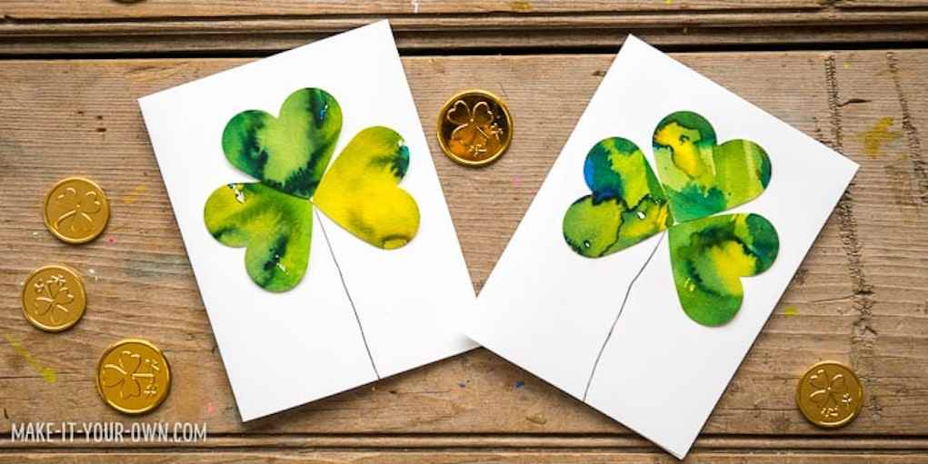 Shamrock cards for St Patrick's day crafts