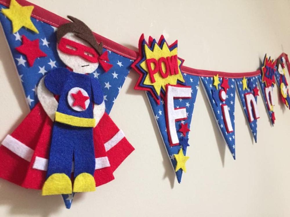 Superhero bunting from etsy Superhero inspired kids bedroom ideas