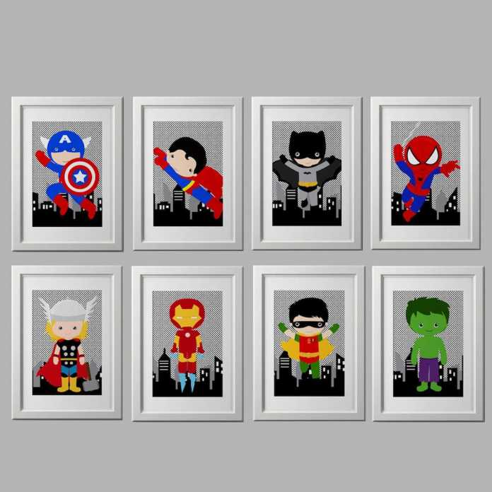Superhero prints from etsy Superhero inspired kids bedroom ideas