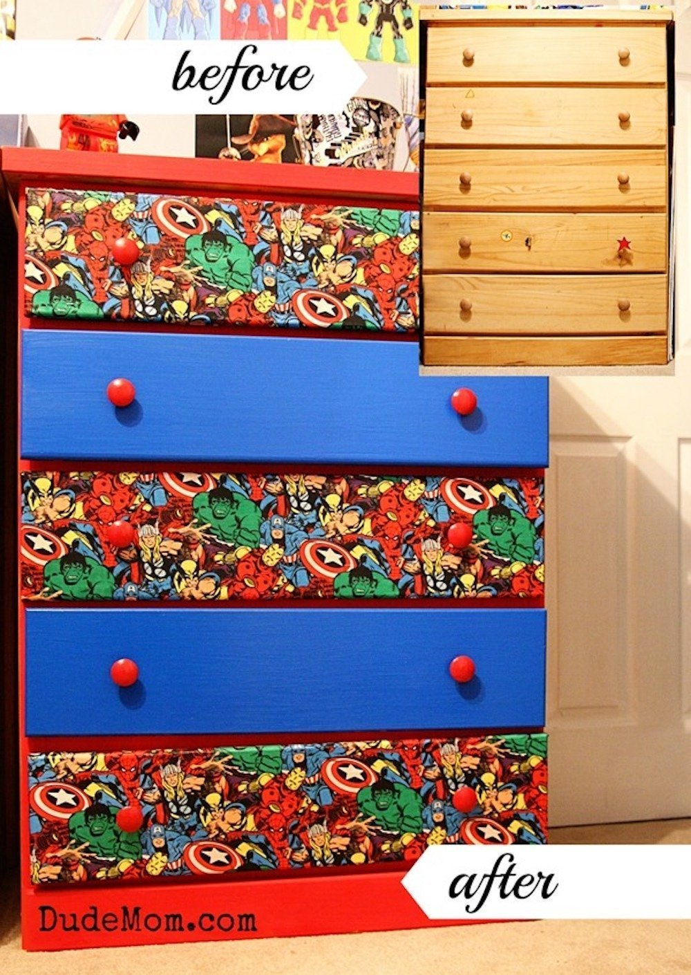 diy superhero dresser makeover from dudemom Superhero inspired kids bedroom ideas