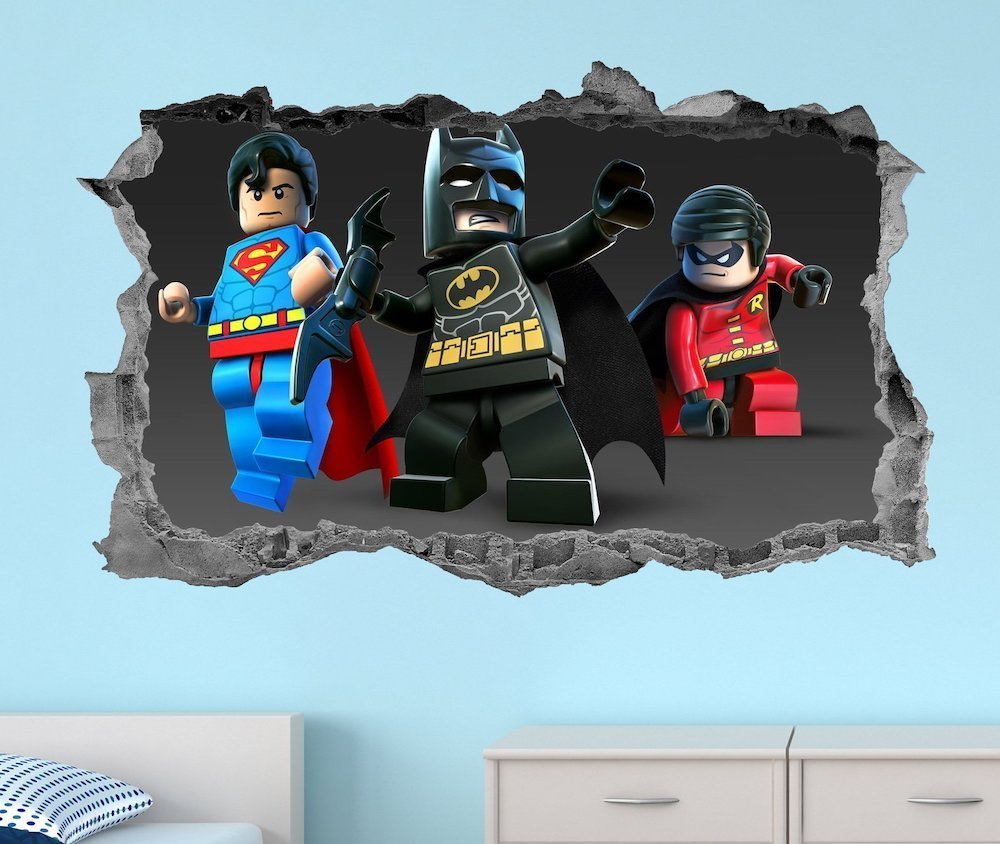 superhero decal wall art from etsy Superhero inspired kids bedroom ideas