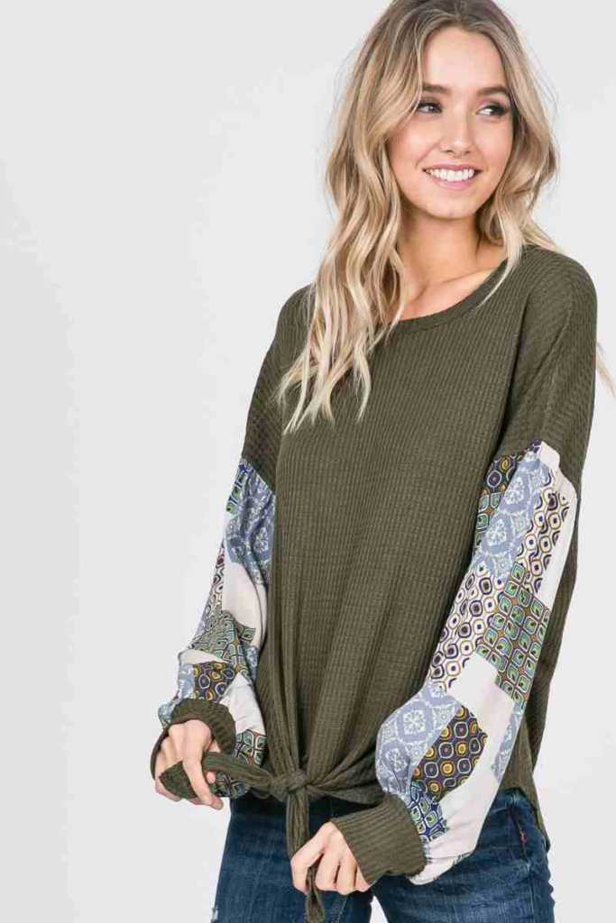 patchwork sleeve top