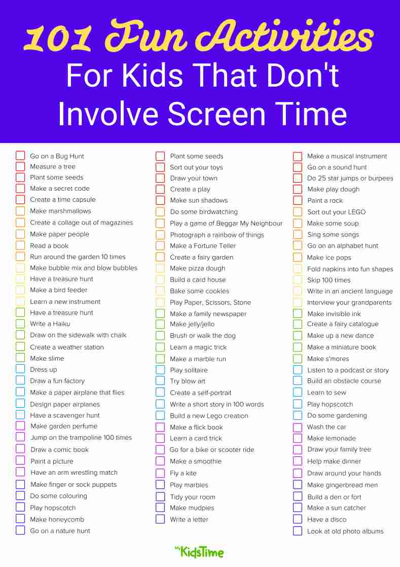 101 Activities for Kids that Don't Involve Screen Time