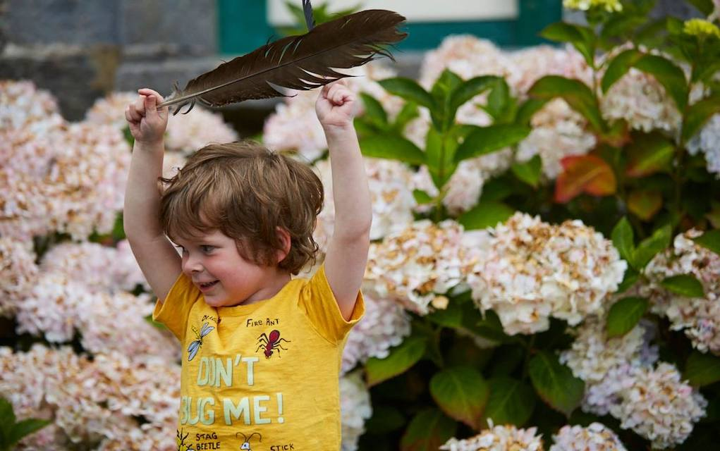 Johnstown Castle child with a feather fun things to do with kids in Wexford