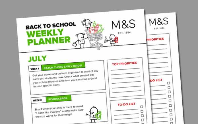 Free back to school planner
