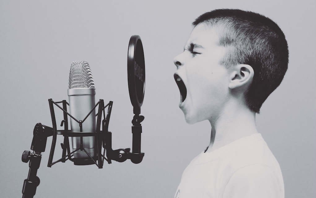 Boy singing music
