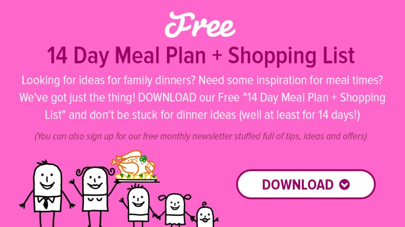 14 day meal plan of family dinners