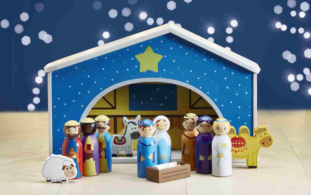 Aldi wooden nativity scene